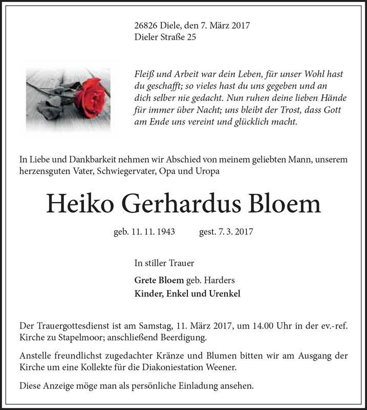 gedenkseite für heiko bloem | martin wassink bestattungen, Einladungen